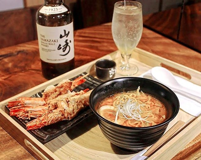 Unlike the usual pork or chicken broth served in most ramen restaurants in Singapore, their Whisky Ramen features a rich amaebi-infused stock with a shot of Yamazaki (a premium Japanese malt whiskey) fat-washed with ebi oil.
