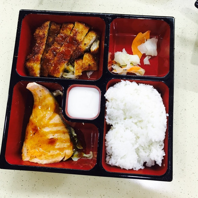 Salmon And Pork Chop With Rice