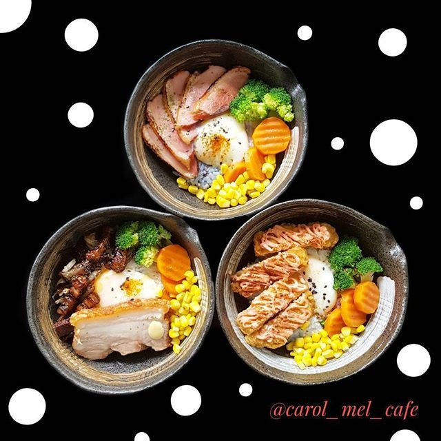 """❤❤❤❤❤❤❤ * Good morning my love * @carol_mel_cafe New Lunch Menu * [Available on weekdays-12pm to 2pm only] * Featuring: * (Clockwise Motion from top left) * """"DUCKIE RIC3 BOWL""""- Honey glazed smoked duck served with Onsen egg & greens."""