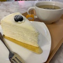 Mille Crepe With Chamomile Tea