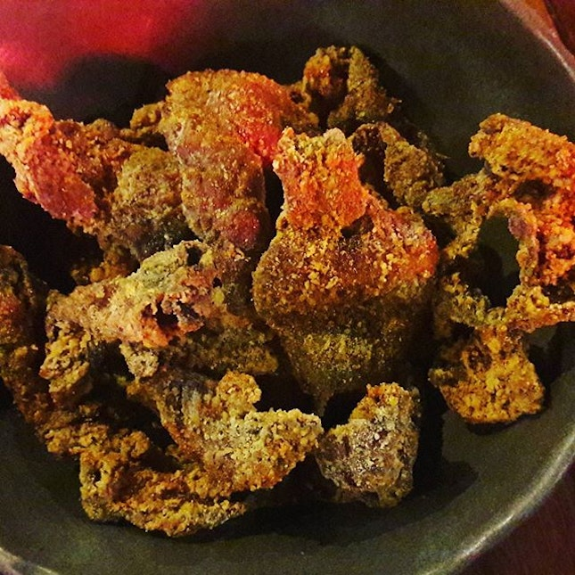 Late night supper - fried chicken skin with spice!