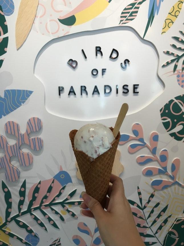 Lychee Raspberry ice cream Cone