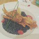 Squid ink risotto with soft shell crab ($18.90++)