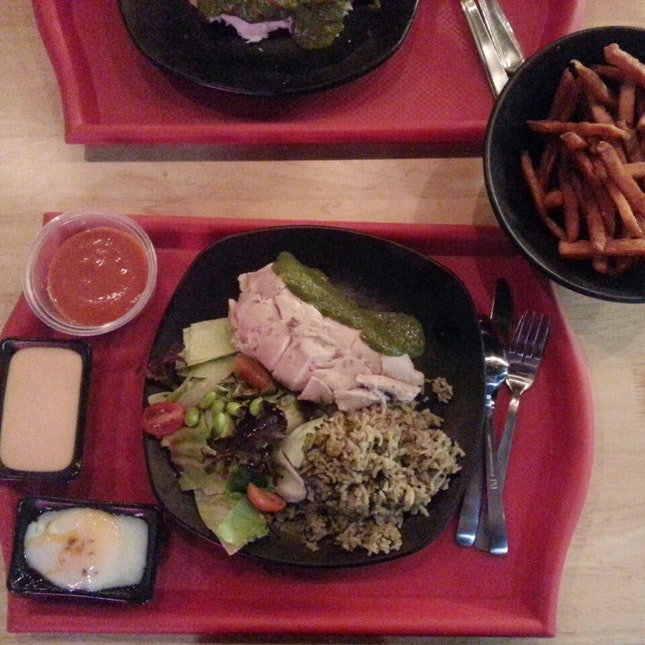 Slow Poached Chicken ($6), Meal - Gazpacho, Soft Cooked Eggs, Salad, Olive Rice($5), Truffled Sweet Potato Fries ($6)