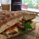 Chicken Avocado Sandwich ($14.50) + Lavender Cold Brew ($7.50)