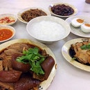 Teochew porridge with braised duck,braised meat/skin, salted egg, braised peanut,braised soy skin all braised dinner!!!!!