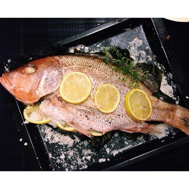 salt-baked red snapper with kelp 🐟