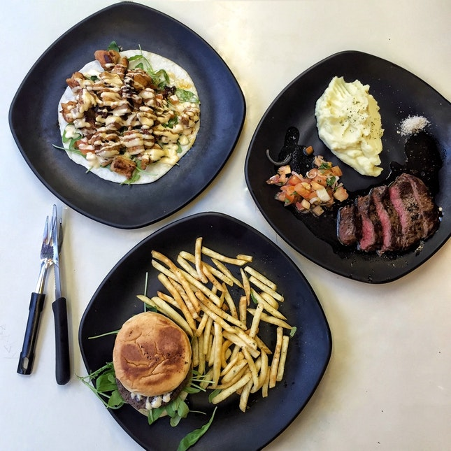 Steak Frites ($12.50), Wagyu Patty Burger ($8) & Chicken Taco ($6)