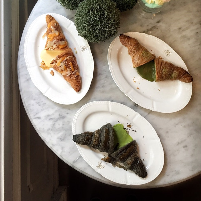 Charcoal Kaya, Matcha, & Four Cheeses Croissants ($6 each, before GST)