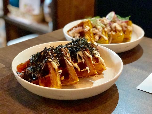 Kimchi seafood waffle