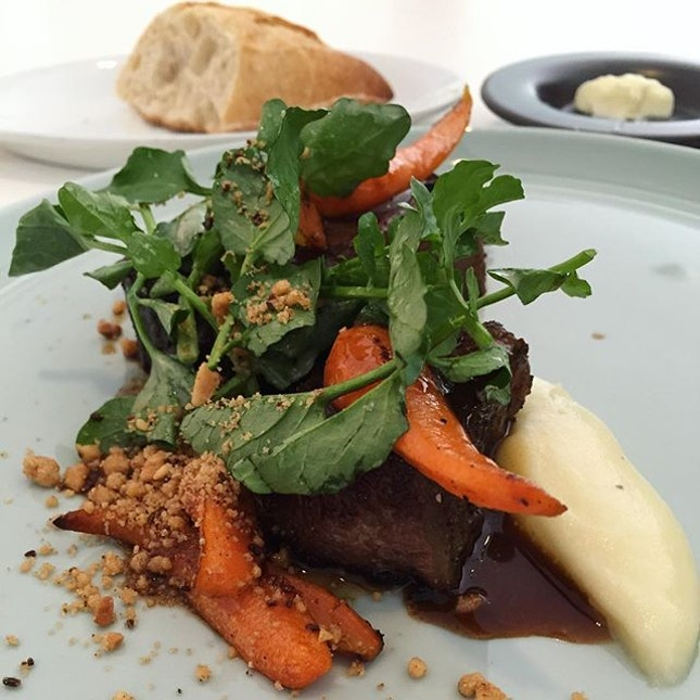 Entrée - Beef Short Ribs paired with Pomme Purée | Baby Carrots | Watercress 🐮 .