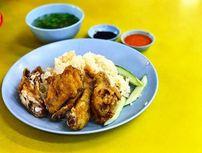 Victor Famous Fried Chicken Wing Rice - Signature Fried Chicken Wing Rice (💵S$3) Chicken Rice, 2 Fried Chicken Wings, Free Flow Soup for your Soul.