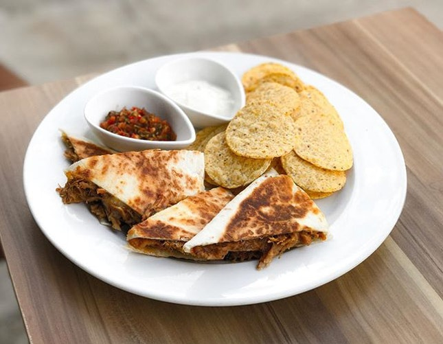 W39 Bistro & Bakery - HOSTED TASTING - Sandwiches & Burgers - Pork Cheek Quesadilla (💵S$17)  Shredded Pork Cheek in tortilla wrap with corn chips, tomato salsa.