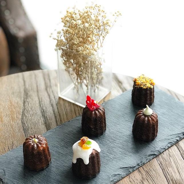 Lê Canelé D'or @lecaneledorsg - Christmas Tasting - Assorted Flavours -  Traditional (Vanilla Bean & Dark Rum), Framboise (Raspberry & Brandy), Stollen (Cinnamon, Rum & Dried Fruits), Ondeh Ondeh (Pandan Leaves & Gula Melaka), Hazelnut (Hazelnut & Milk Chocolate) .