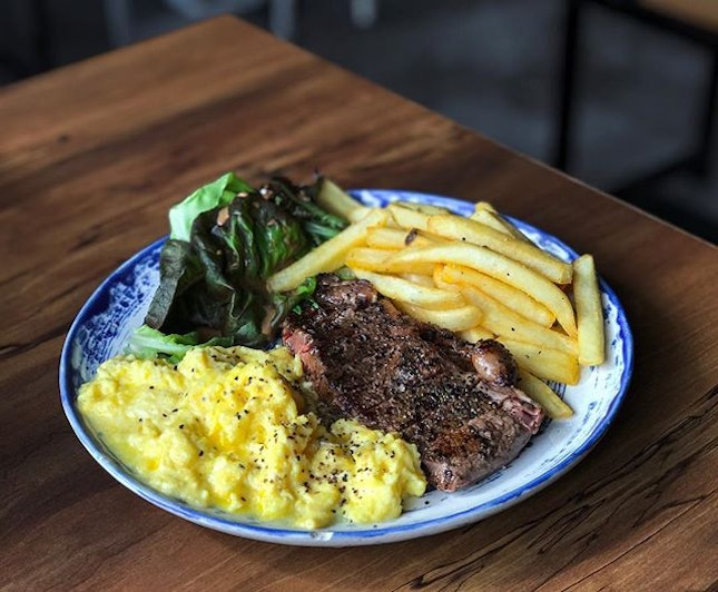 Brothers In Fine Food @brothersinfinefood - All Day Breakfast & Brunch - Butcher's Daughter (💵S$14) Sous-vide and seared Beef Steak, Eggs and Frites.