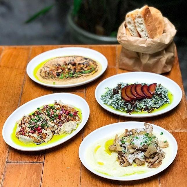 Artichoke @artichoke_sg - HOSTED TASTING - Mezze - ON THE TABLE -  Burnt Miso Hummus (💵S$10) Miso chickpea dip, tahini, walnuts, blackcurrants.