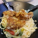salted Egg Yolk Pasta With Chicken Cutlet