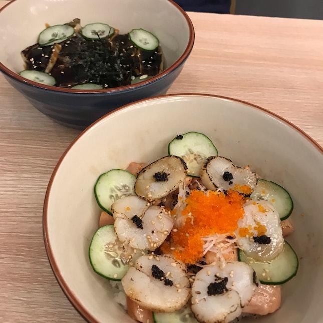 Scallop Salmon Aburi and Anago Don