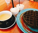 Sunday is for charcoal waffle :) the earl grey lavender ice cream here is fab!