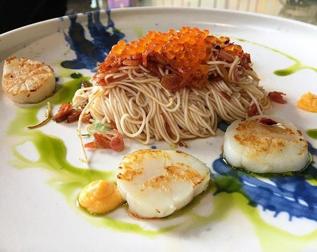 Scallop somen - ikura � ebi � scallop � salted egg sauce #janicewongsingapore #nationalmuseumofsingapore #singapore #sgig #igsg #sgfood #funfood #janicewong #dimsum #art #foodart #saltedegg #burpple #instafood