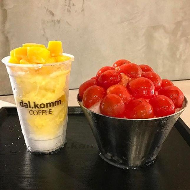 Mango bingsu vs cherry tomato bingsu (with sour plum) 👍🏻👍🏻👍🏻 .
