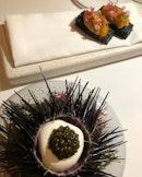 Hokkaido uni & toast (spot prawn tartare + mussel cloud + Royal Schrenckii caviar) ♥️ .
