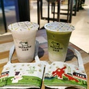 Taro vs Matcha With the cute cup sleeves 👍 .