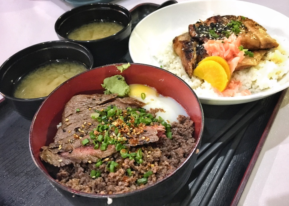 Grilled Pork Cheek Don & Wagyu Don With Truffle Minced Meat