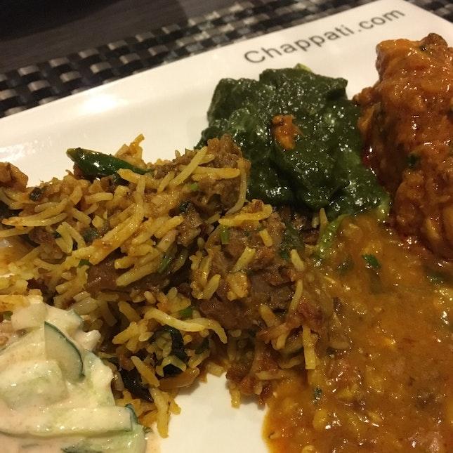 Northern Indian - Mutton Briyani, Palak Paneer, Coriander Chicken, 3type Mix Lentil Curry