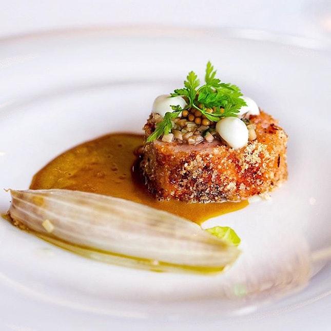 British pork loin with onion and aubergine.