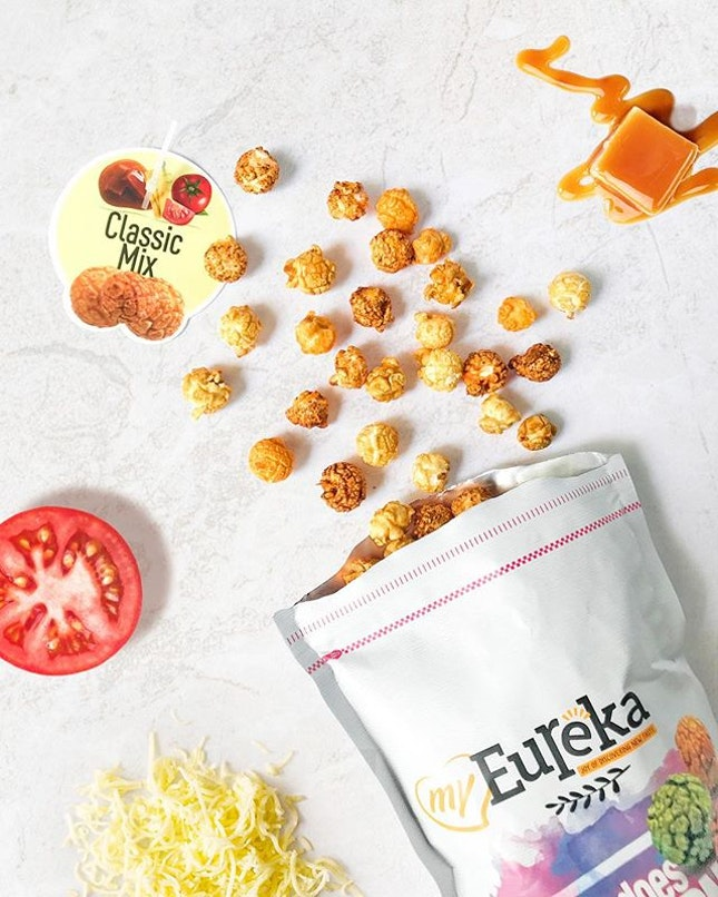 Classic Mix [RM14.90] ・ @Eureka_Snack_Popcorn is legit AWESOME😍 This bag contains 3 flavours - Tomato, Cheese and Caramel.