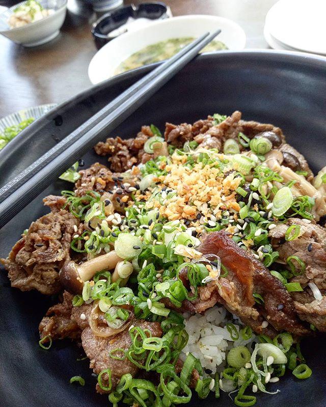 Refinery Gyudon ($17) | Tare Marinated Beef with truffle mushrooms, spring onion & onsen tamago!