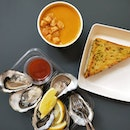 Oysters, Pumpkin Soup, Fish & Chips.