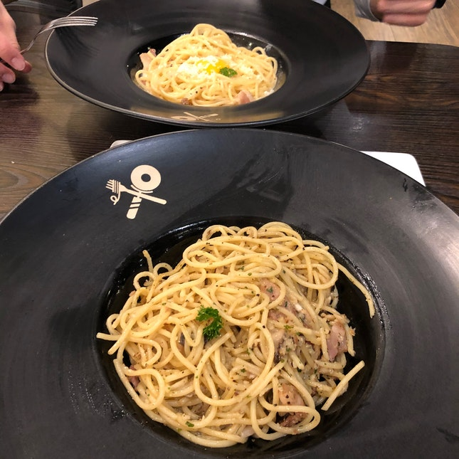 Bacon & Mushroom Aglio Olio And Carbonara
