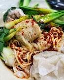 Pork Dumpling Noodles (Dry) / 抄手拌面(干) : : #singapore #sg #igsg #sgig #sgfood #sgfoodies #food #foodie #foodies #burpple #burpplesg #foodporn #foodpornsg #instafood #gourmet #foodstagram #yummy #yum #foodphotography #nofilter #lunch #pork #dumplings #noodles #chinesefood #chilli #shiok #weekend #saturday #hawkers