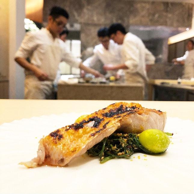 Chef's Special : Grilled Shizuoka Kinmedai , along with Gingko nuts , Japanese spring onion pureé & Karasumi powder .