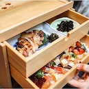 Ryu's Japanese Restaurant's Okamochi Bara Chirashi-Sushi Set ($45++) comes  in wooden drawers!