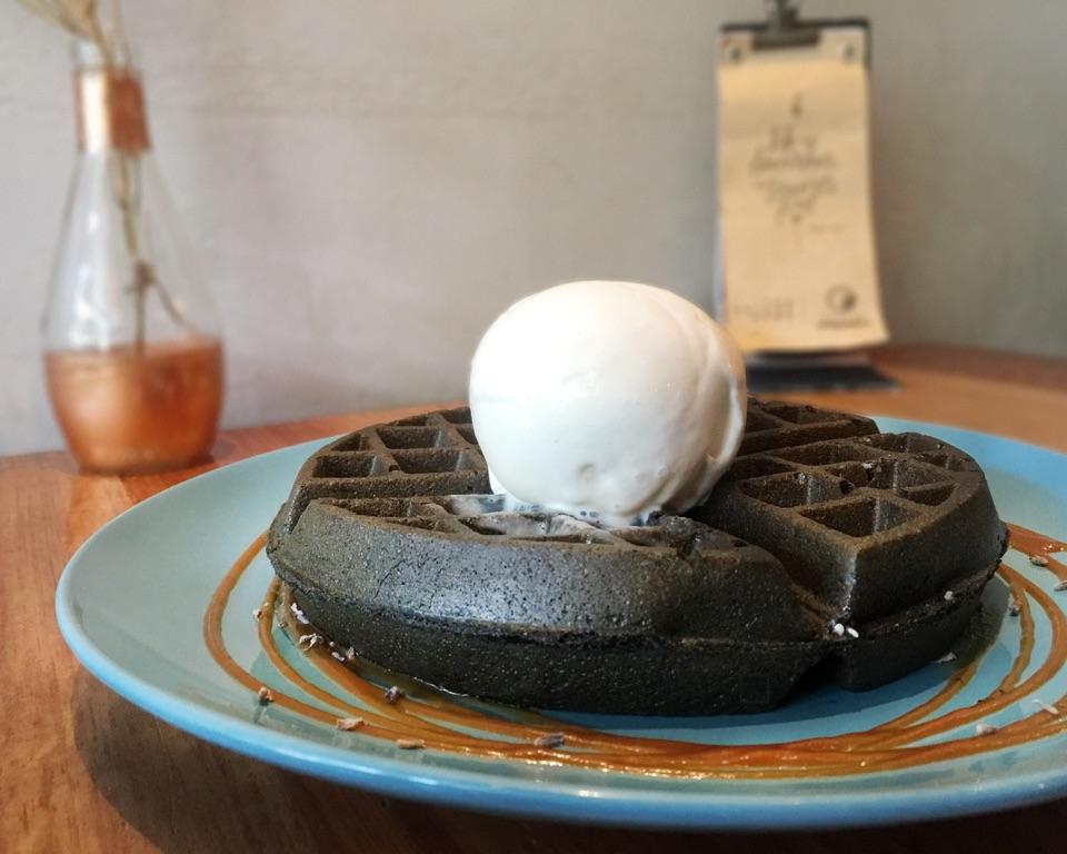 Black Charcoal Waffles + Mango Chilli Tea Ice Cream