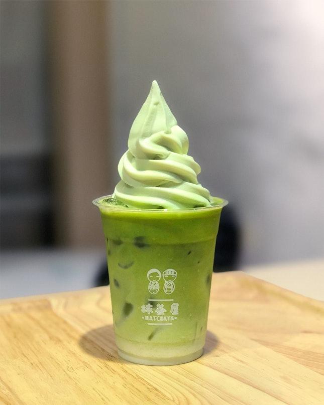 Matcha Calpis Milk with Melon Softserve ($7)