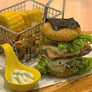 Salmon with Wasabi Mayonnaise Sushi Burger