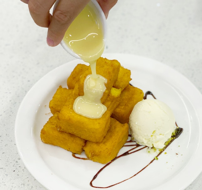 Savory French Toast Bites served with Vanilla Ice-cream