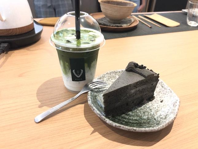 Goma Cake & Iced Matcha Latte
