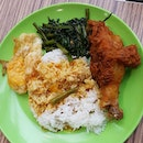 7.5🌟 / 10🌟 Yummy Nasi Padang consisting of Fried Chicken Drumstick, Sambal Kang Kong & Egg @ S$5.50 from Foodmaster Food Court at Fusionopolis Galaxis Level 2