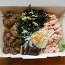 8🌟 / 10🌟 Yummy regular size bowl of Japanese Bento consisting of Brown Sushi Rice, California unrolled (Salmon), Yuzu Tuna, Seaweed Salad & Pickled Shimeji and Shitake Mushrooms with an Onsen Egg @ S$13.90 from Katto Restaurant at Fusionopolis Place, Galaxis Building