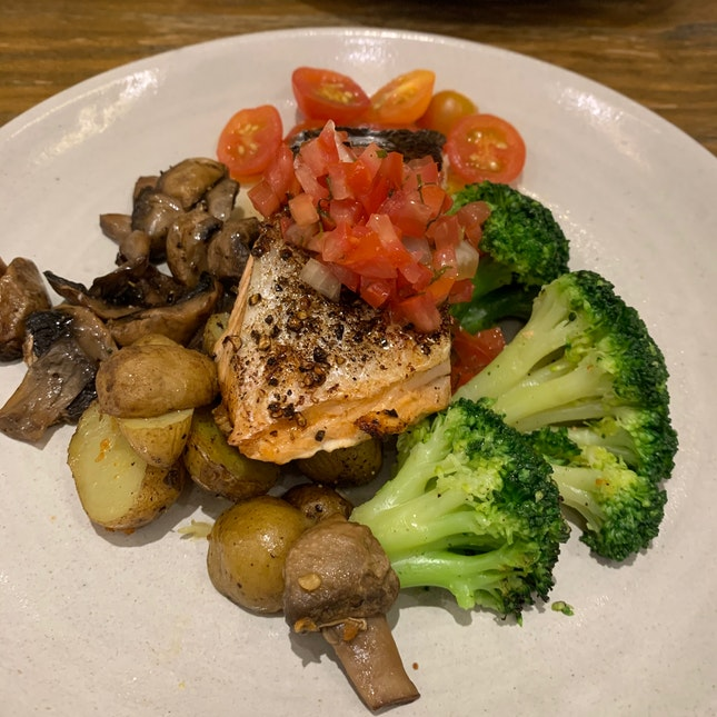Grilled Salmon Fillet With Tomato Salsa ($28)