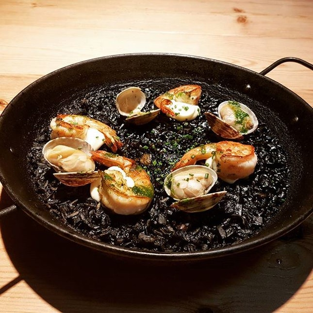 Squid Ink Paella  The reason why I chose this place post yoga class..the squid ink paella was so good..the rice was really fragrant and well flavored  The prawns were grilled to perfection, giving it that salty and crisp taste.