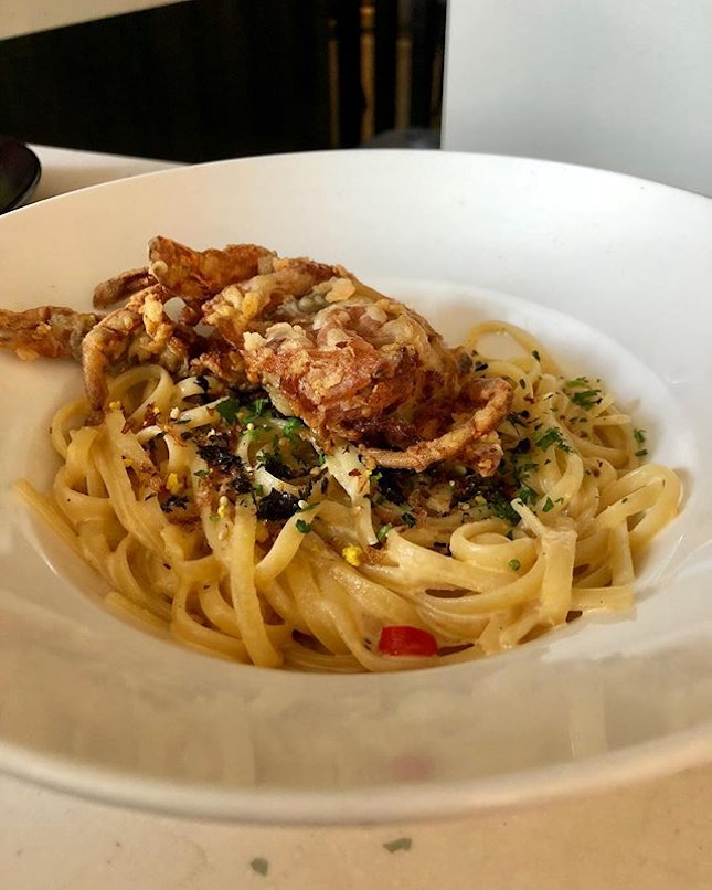 Salted egg soft shell crab pasta @ $23.