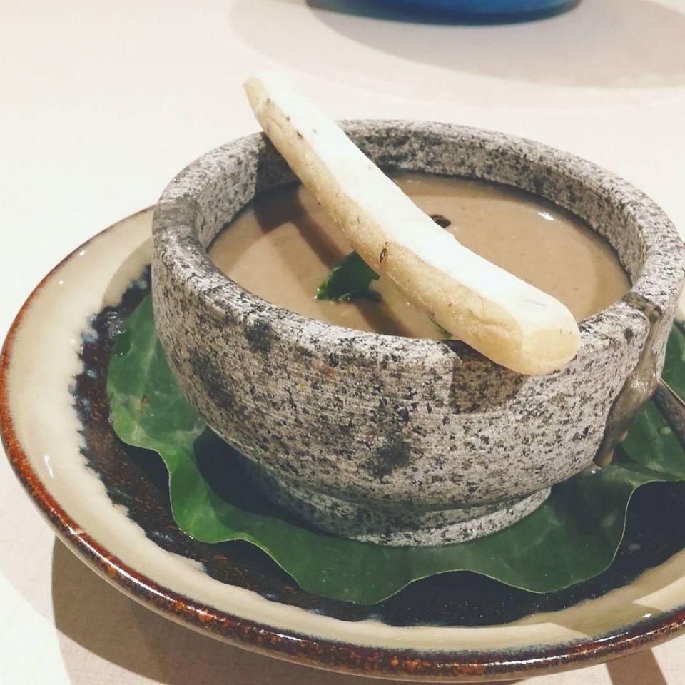 Mushroom Truffle Bisque served in Stone Pot