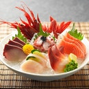 "Sashimi Moriawase ""Fukui"" (5 kinds) Raw Scallop, Salmon, Scarlet Prawn, Surf Clam & Yellow-tail $51.80"