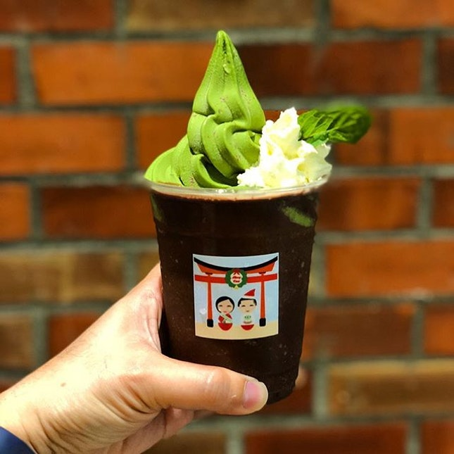 Iced Nama chocolate mint float with matcha softserve ($9).